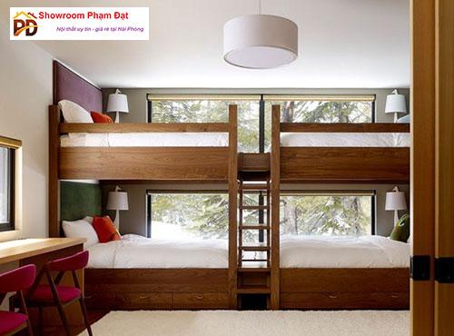 Giường hộp 2 tầng gỗ thiết kế dạng Stay home hiện đại sang trọng
