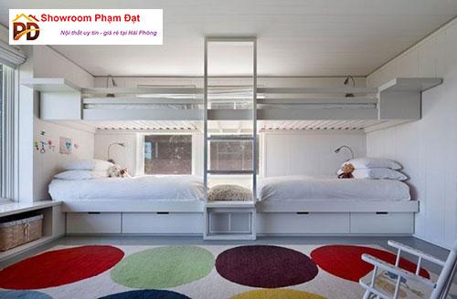 Giường hộp 2 tầng trắng sáng tạo siêu xinh cho phòng ngủ