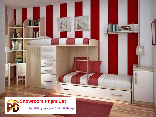 giường hộp 2 tầng bằng gỗ