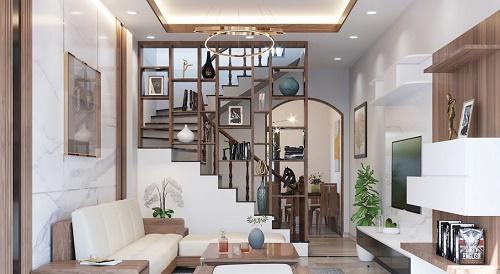 vách ngăn phòng khách với cầu thang đẹp bằng gỗ
