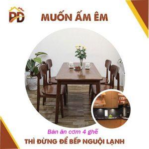 Mẫu bàn ăn cơm 4 ghế